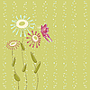 Vector clipart: floral card with butterfly