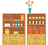 Vector clipart: kitchen furniture and utensils