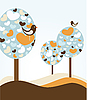 Vector clipart: trees with hearts and birds