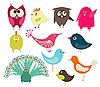 Set of cute birds | Stock Vector Graphics