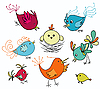 Vector clipart: set of cute birds