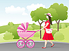 Vector clipart: young woman with stroller