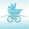 Векторный клипарт: синяя детская коляска