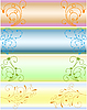 Vector clipart: simple floral banners
