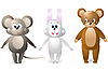 Vector clipart: mouse, rabbit and bear