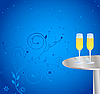 Vector clipart: Glasses of champagne on the table