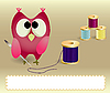 Vector clipart: Owl with needle and threads