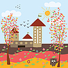 Vector clipart: autumn city landscape