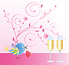 Vector clipart: greeting card with bird
