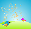 Векторный клипарт: открытка с птицами
