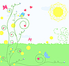 Vector clipart: floral card with bird