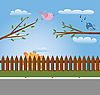 Vector clipart: greeting card with birds
