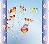 Vector clipart: floral card with birds