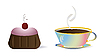 Vector clipart: cup of coffee and cake