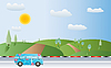Vector clipart: landscape and bus