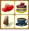 Vector clipart: ice cream, cake, coffee cup with hearts