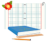Vector clipart: book, notebook and pencil