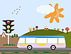 Vector clipart: autumn landscape with bus