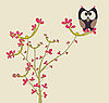 Vector clipart: greeting card with owl