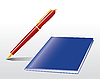 Vector clipart: pen and notebook
