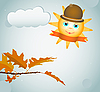Autumn leaves and sun | Stock Vector Graphics