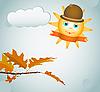 Hojas de otoño y el sol | Ilustración vectorial