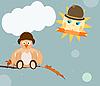 ID 3090718 | Cartoon sun and bird | Stock Vector Graphics | CLIPARTO