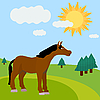 Векторный клипарт: сельский пейзаж с лошадью