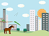 Vector clipart: urban landscape with horse