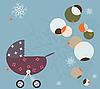 Векторный клипарт: Зимний фон с детской коляской