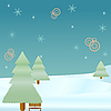 Vector clipart: winter fir trees and snowflakes