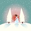 Vector clipart: snowman and fir trees