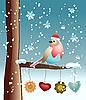 Векторный клипарт: Птица на заснеженной ветке