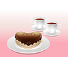 Vector clipart: cake and cups of tea