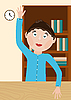 Vector clipart: boy in classroom