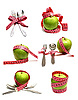 Spoons, forks and apples with ribbons for measuring diet | Stock Foto