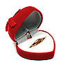 Two wedding rings in red box | Stock Foto