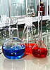 Photo 300 DPI: laboratory beakers with the coloured liquid