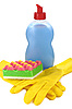 Objects for washing and cleaning up on kitchen | Stock Foto