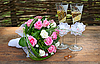 Wedding bouquet with glasses and rings | Stock Foto