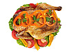 Photo 300 DPI: fried hen with vegetables