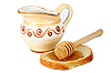 Honey in jug and loaf | Stock Foto