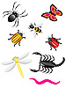 Vector clipart: beetles and insects
