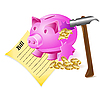 Vector clipart: broken money-box, hammer, bill and coins