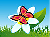 Vector clipart: butterfly on flower