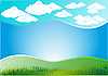 Vector clipart: clouds and grass