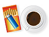 cup of coffee and cigarette box with cigarette-lighter
