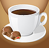 Vector clipart: cup of coffee with chocolate candies