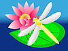 Vector clipart: dragonfly on lily