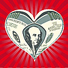 Vector clipart: heart of one hundred dollar note